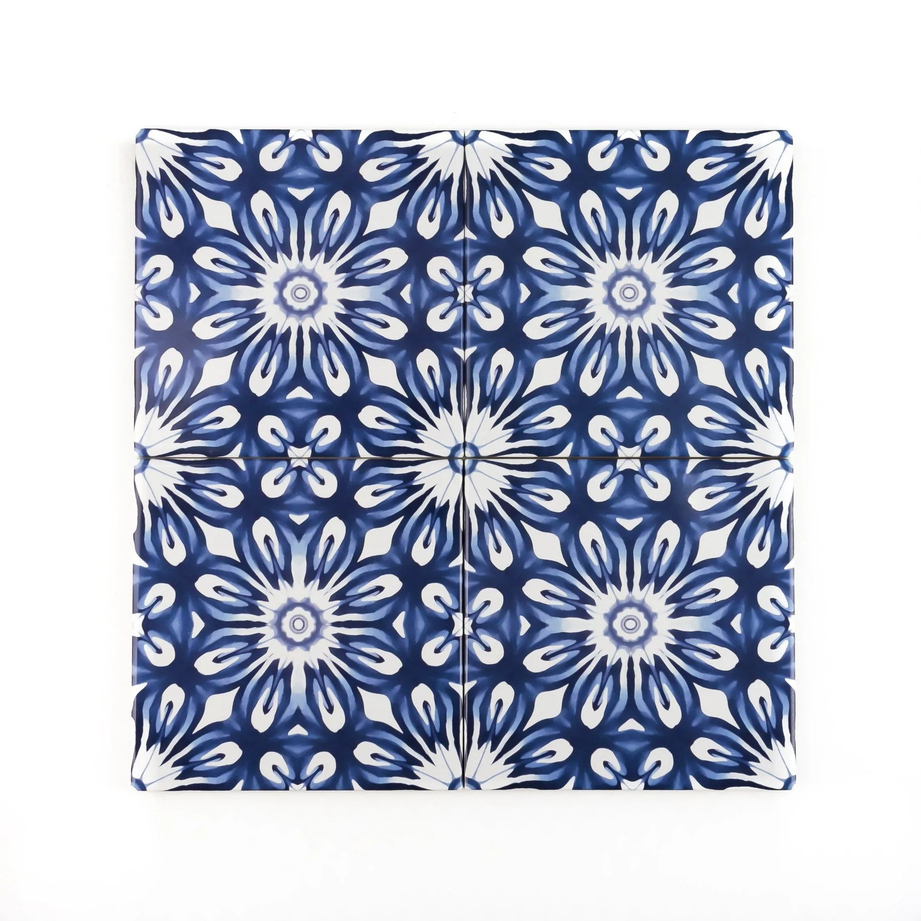 dutch delft style tiles navy blue and white flower tile fired ink version