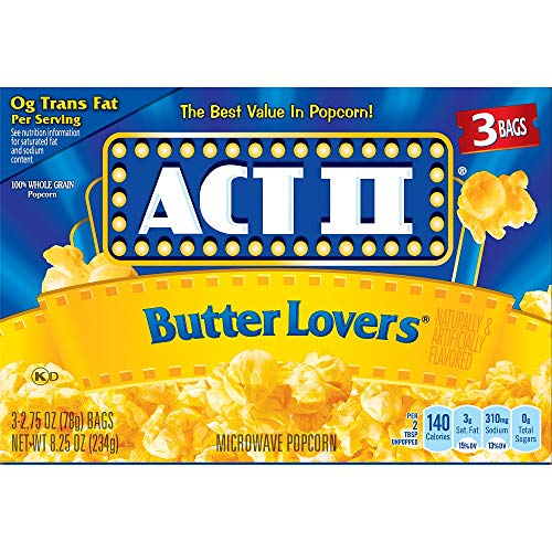 act ii butter lovers microwave popcorn pack of 2 8 25 oz boxes 3 ba