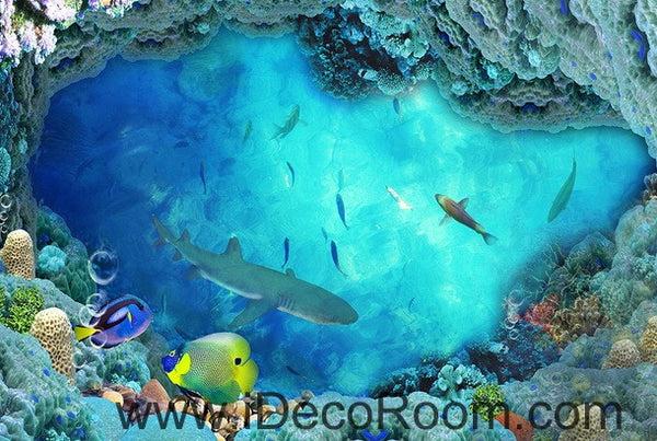 Shark Under The Sea Coral 00018 Floor Decals 3D Wallpaper