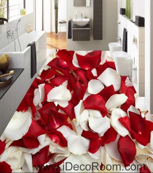 Red Amp White Rose Petal 00085 Floor Decals 3D Wallpaper