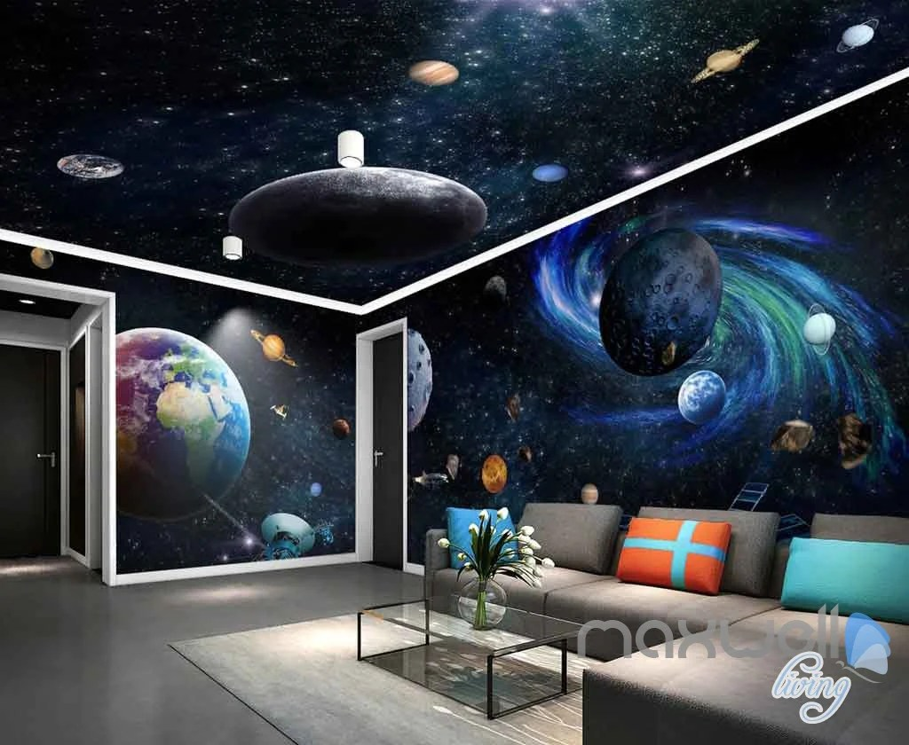 3d Galaxy Solar System Entire Room Wallpaper Wall Murals