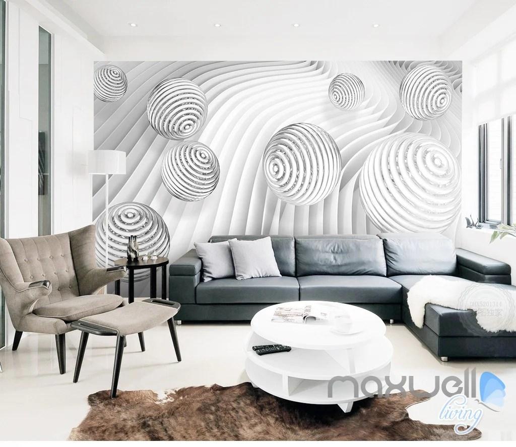 113D Waving Ball 113D Wall Paper Mural Art Print Decals Modern Bedroom Decor  IDCWP-113DB-00002113