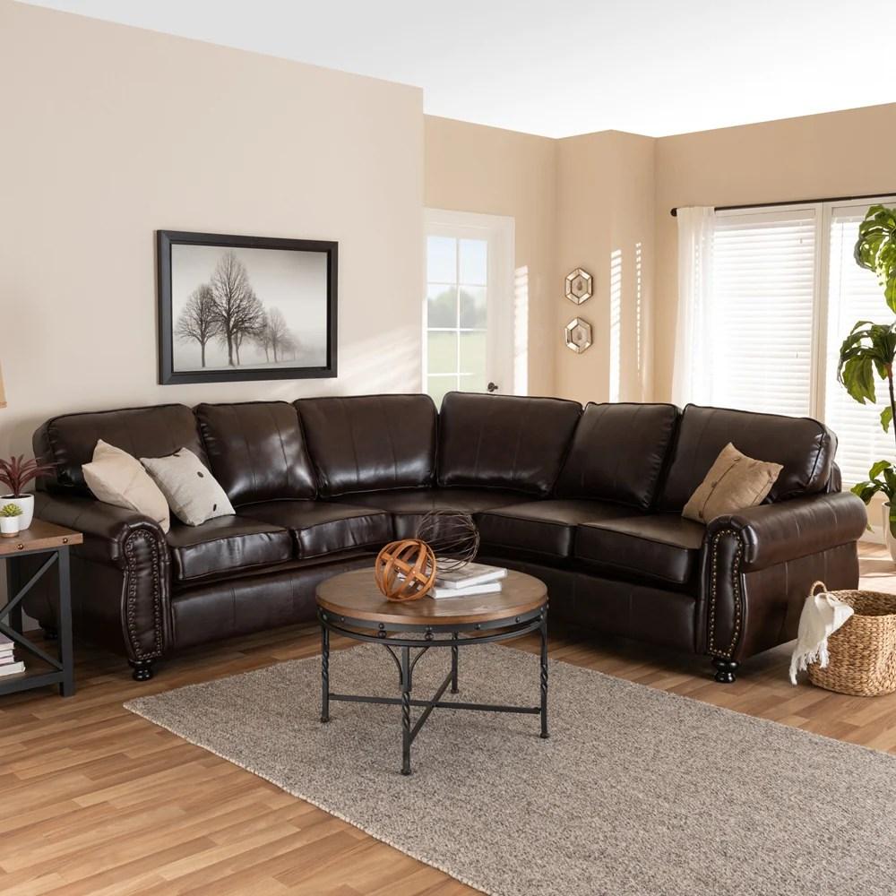 hamilton dark brown faux leather sectional sofa