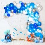 Blue Balloon Garland Kit 120 Pack Silver Confetti Navy Blue Roya Bloonsy Balloon Garlands