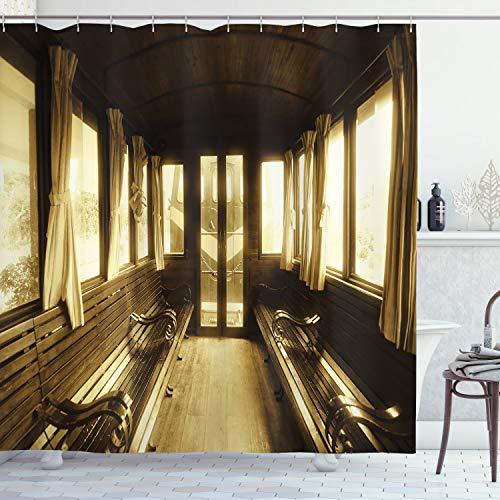 ambesonne antique shower curtain old vintage train salon inside histo homeloft europe
