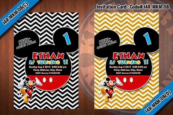 mickey mouse invitation chevron mickey