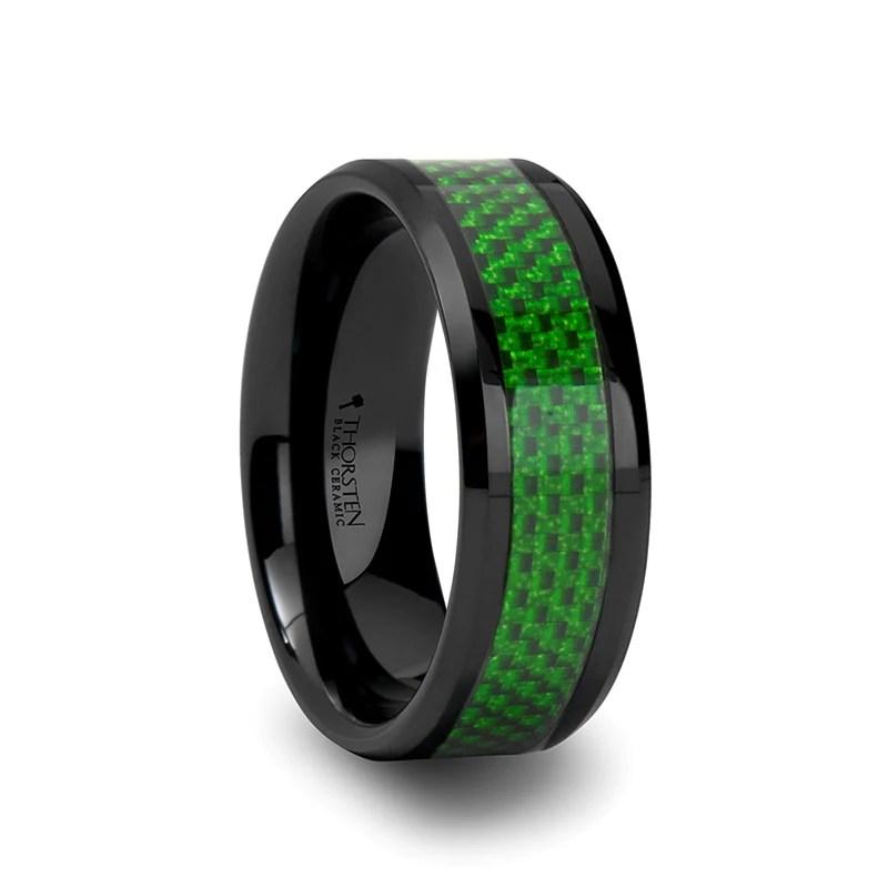 ESSEX Mens Black Ceramic Wedding Band With Green Inlay