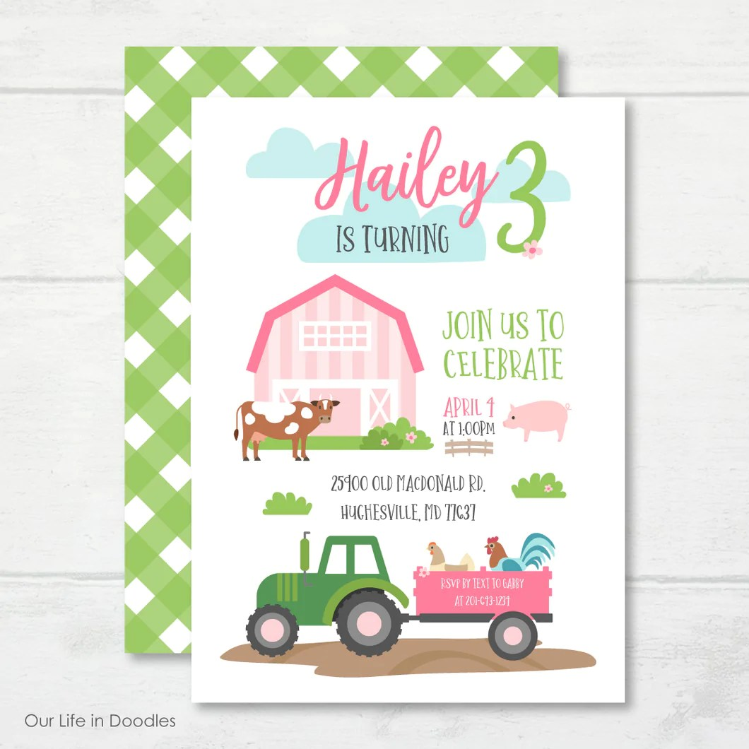 farm animals invitation pink barn birthday party invite