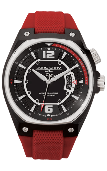 Jorg Gray JG8300 12 Mens Watch Red Silicone Strap Time