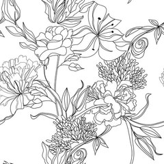 Sketch Floral Removable Wallpaper by WallsNeedLove