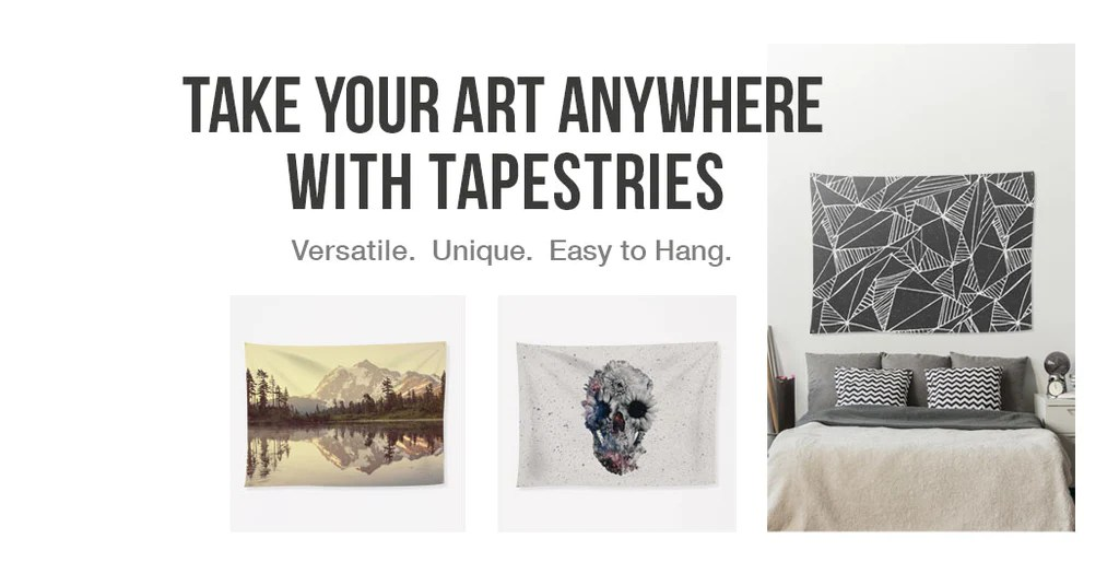 Take your art anywhere with tapestries by @wallsneedlove.