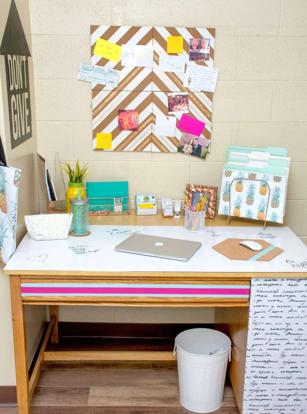 Dorm Takeover: Create a relaxing and organized work space. Have a boring desk? Add some removable wallpaper and decals to keep you inspired and on track! The fun handwriting wallpaper is from WallsNeedLove!