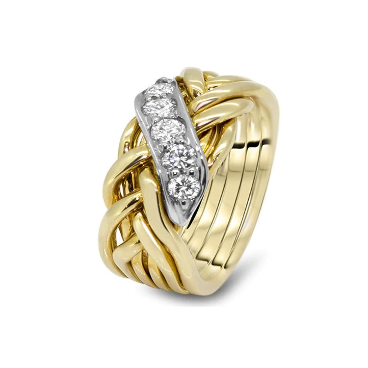 Mens Gold Diamond 6WRD MD Puzzle Rings Creations