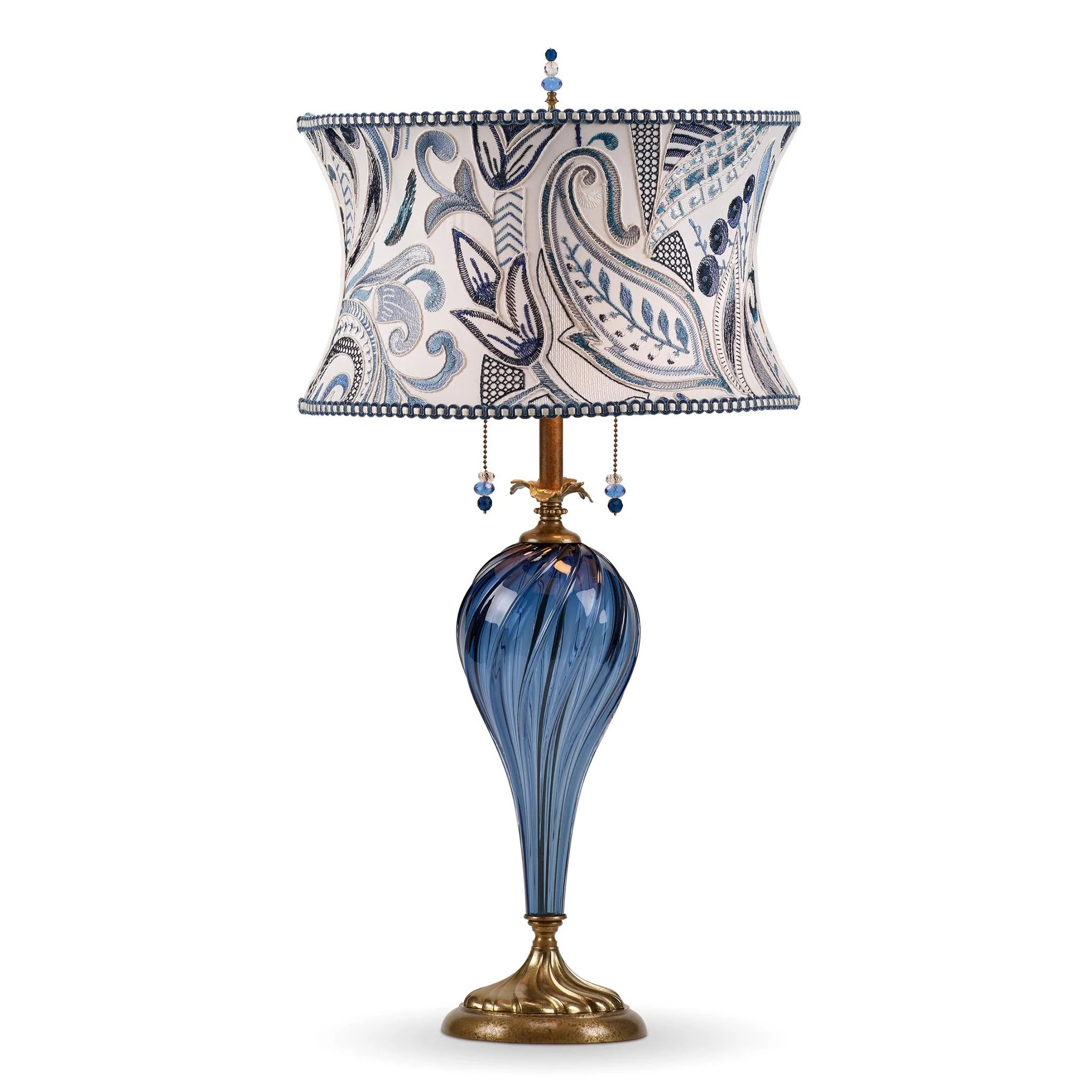 Kinzig Design Madison Table Lamp Colors Blue Blown Glass Base With Blue And White Embroidered Shade Sweetheart Gallery Contemporary Craft Gallery Fine American Craft Art Design Handmade Home Personal Accessories