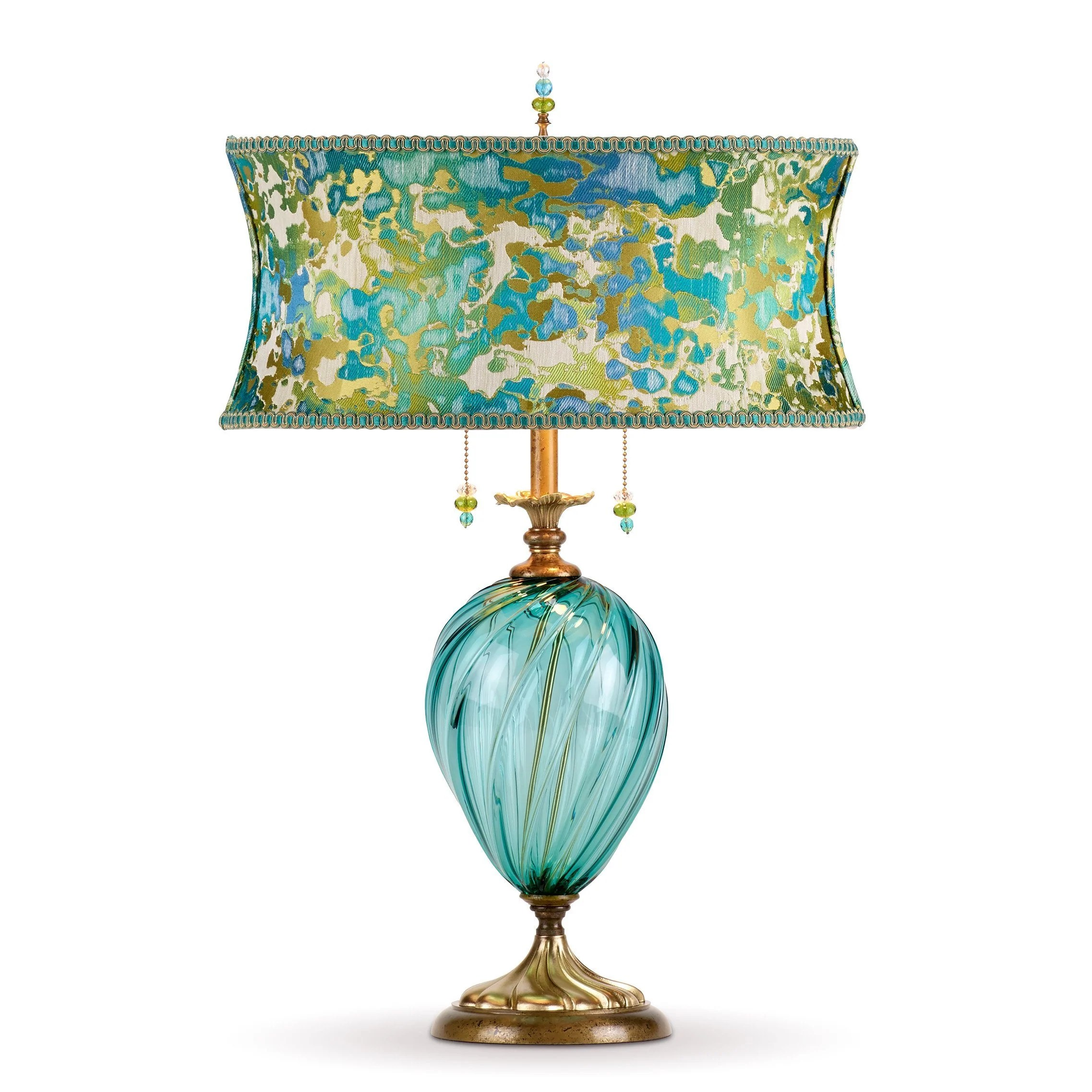 Lucille Table Lamp Kinzig Design Turquoise Blue Lime Blown Glass Silk Shade Sweetheart Gallery Contemporary Craft Gallery Fine American Craft Art Design Handmade Home Personal Accessories