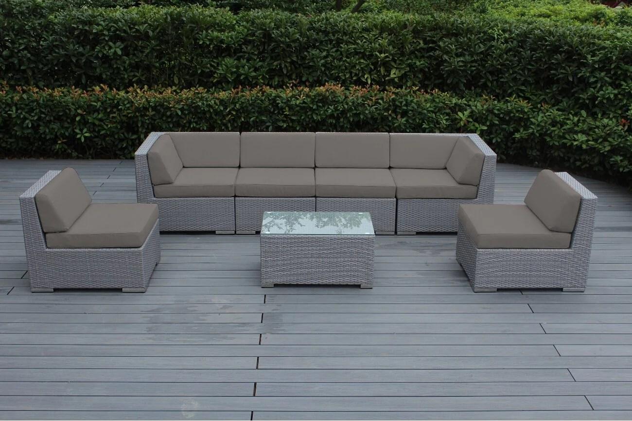 ohana collection pn07037grstn pn7037grstn ohana outdoor patio furniture 7 piece gray wicker sectional set sunbrella taupe