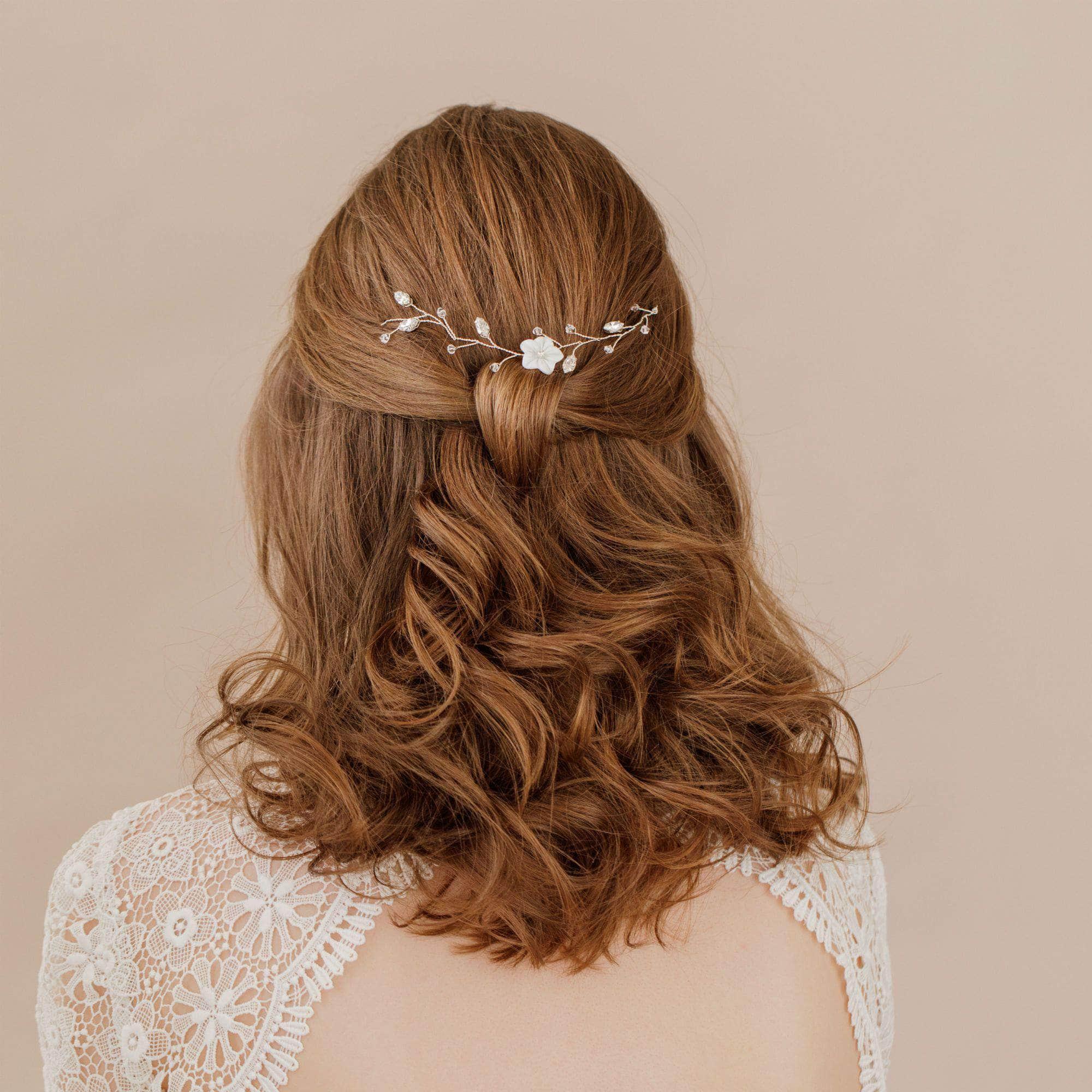 silver floral medium length hair vine jaime