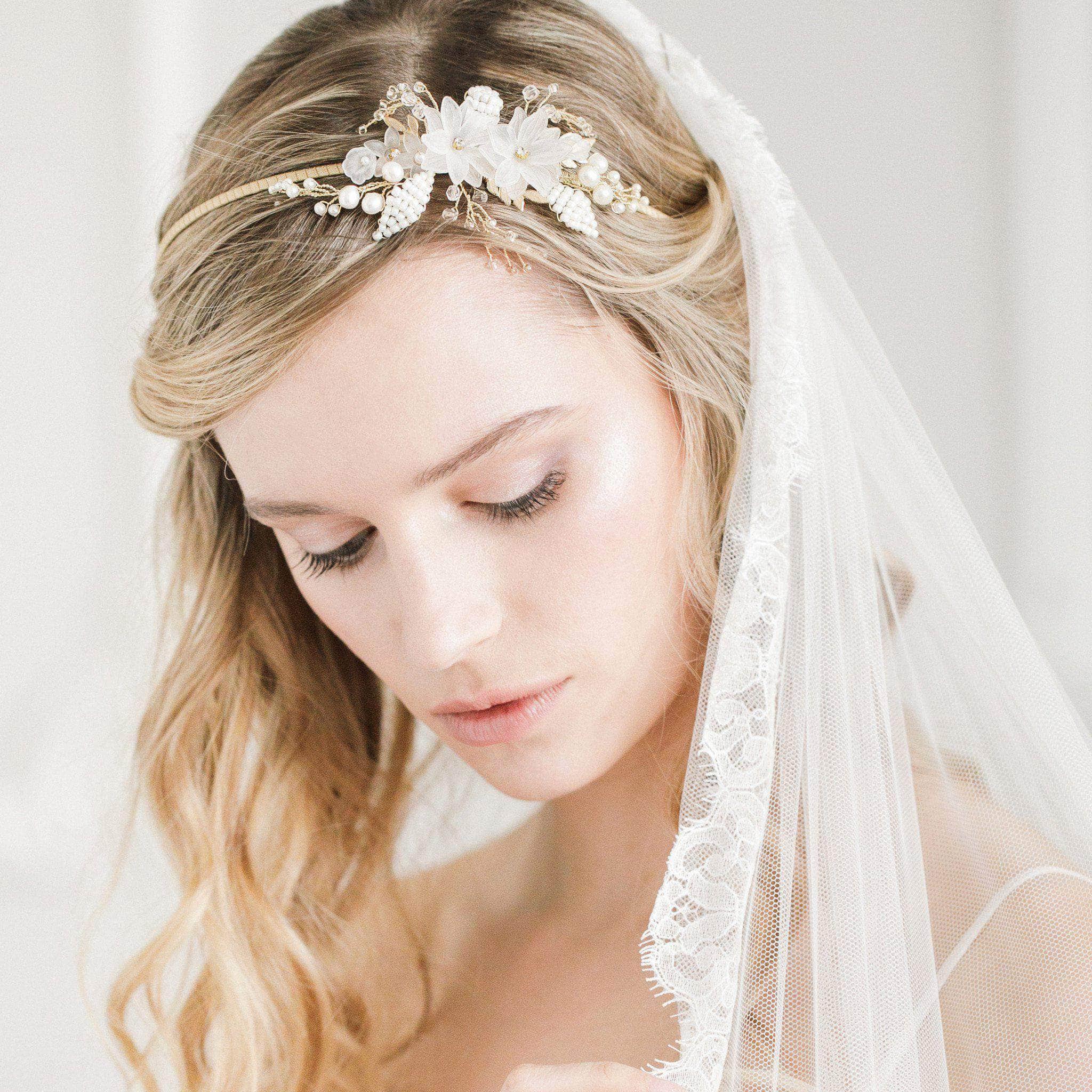 flower and leaf botanical wedding headband rani