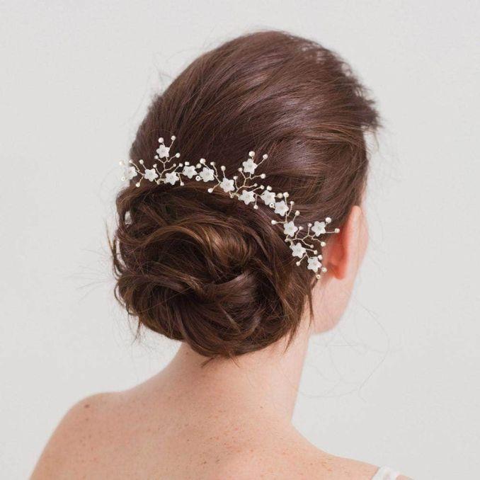 silver flower spray wedding hair pins (x3) - 'jasmine'