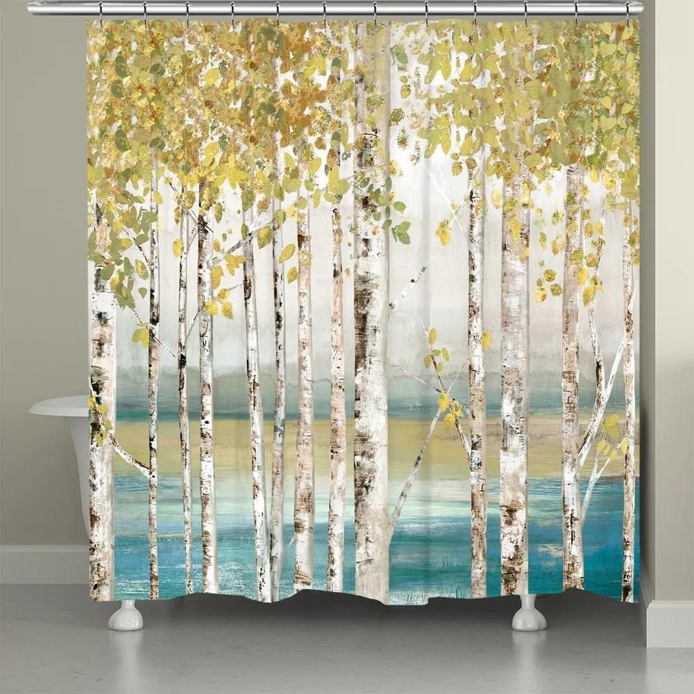 birches of autumn shower curtain