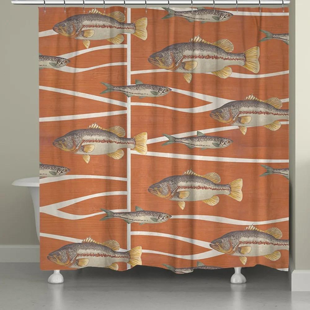 cabin life fish shower curtain