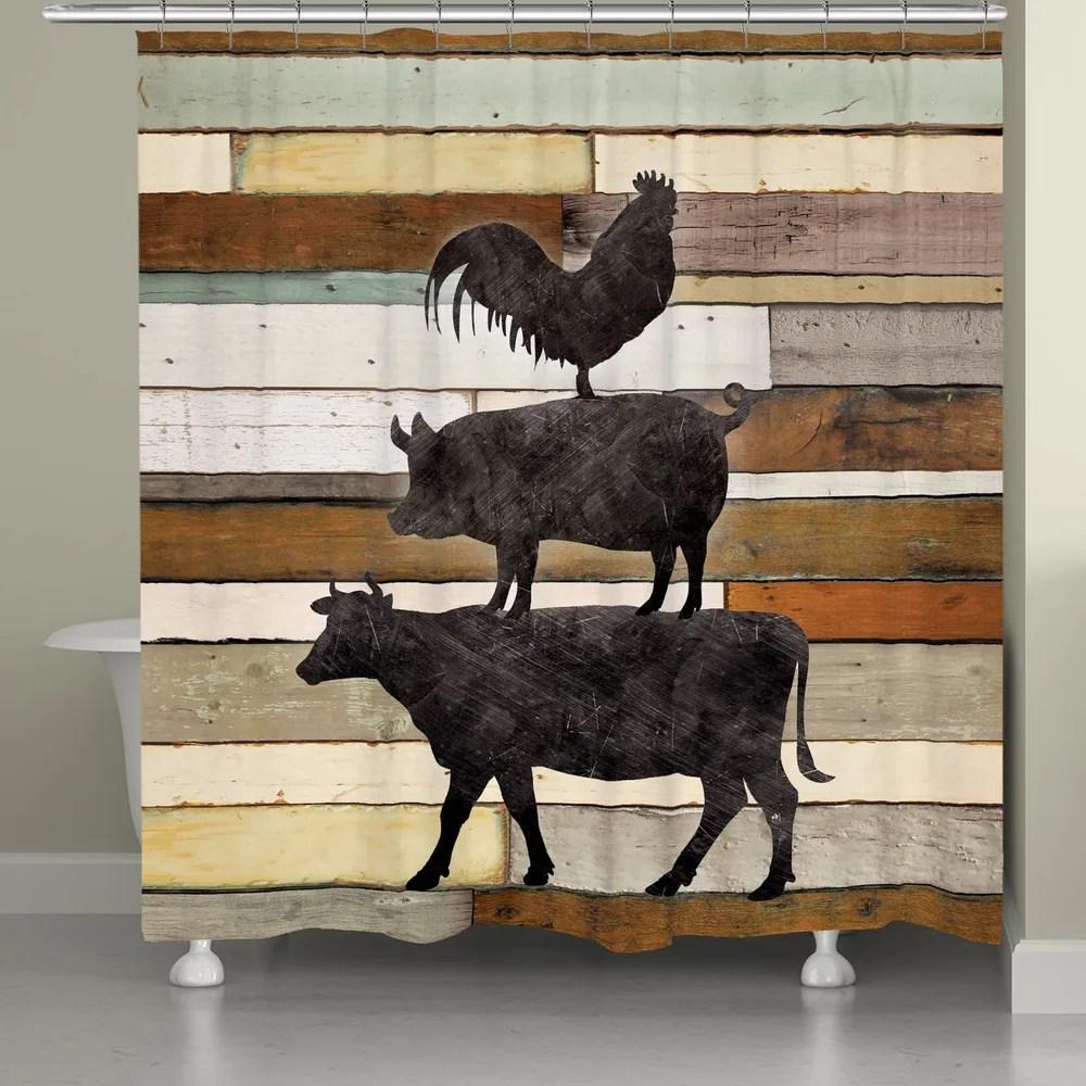 farmhouse animals shower curtain
