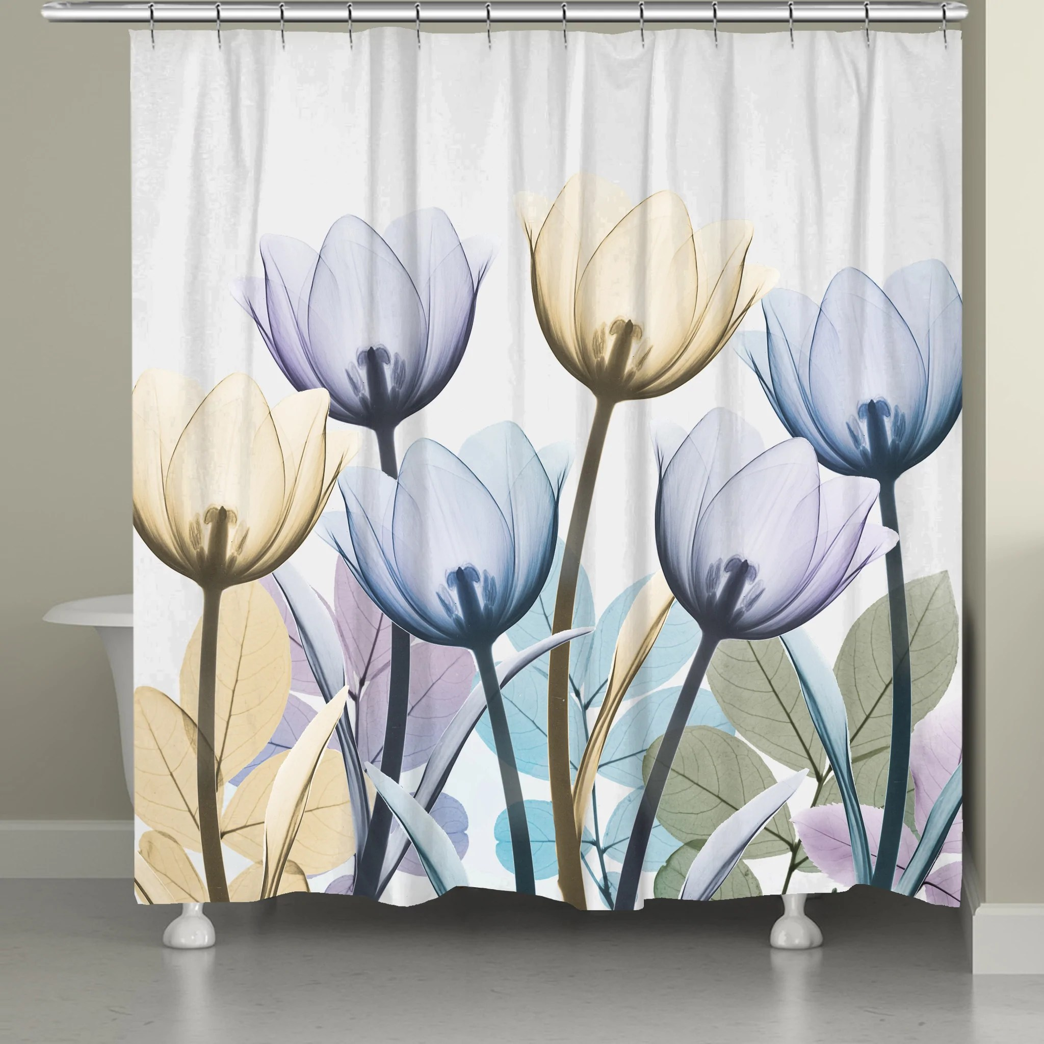 spring x ray tulips shower curtain