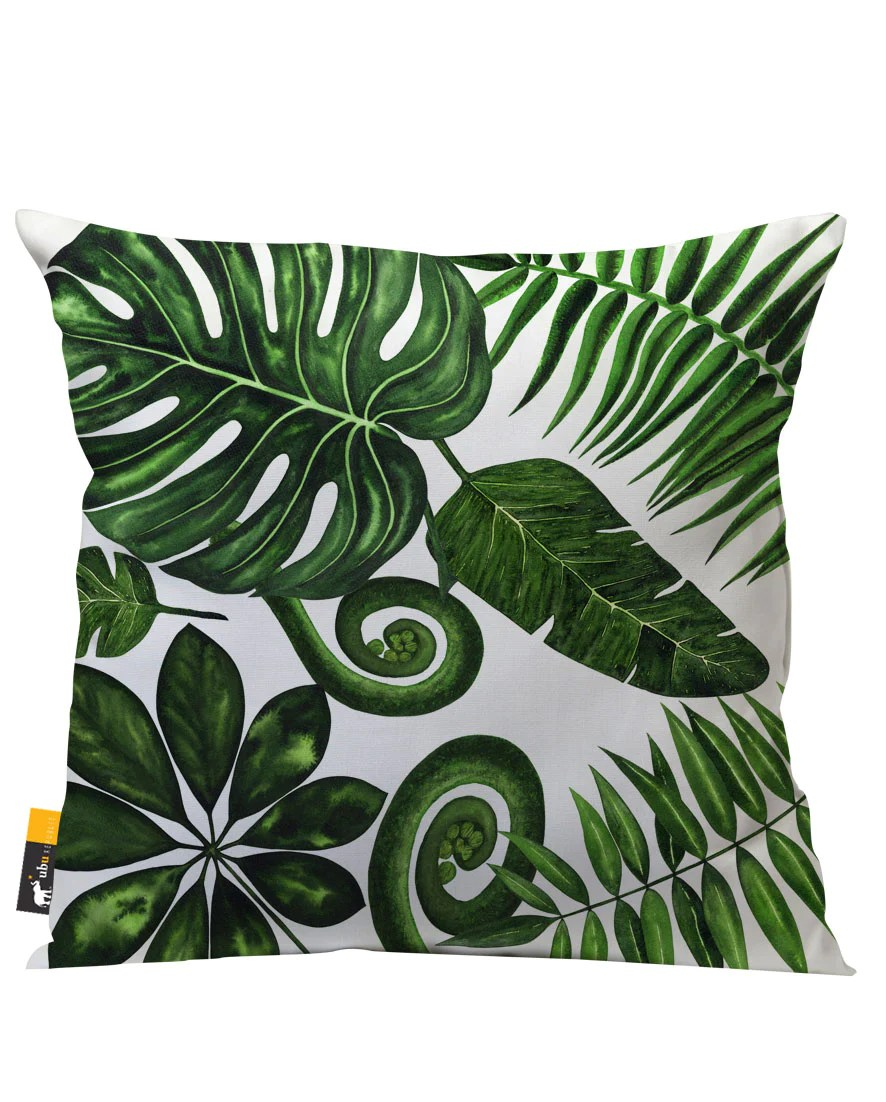 bohemian palm leaves in white outdoor throw pillow