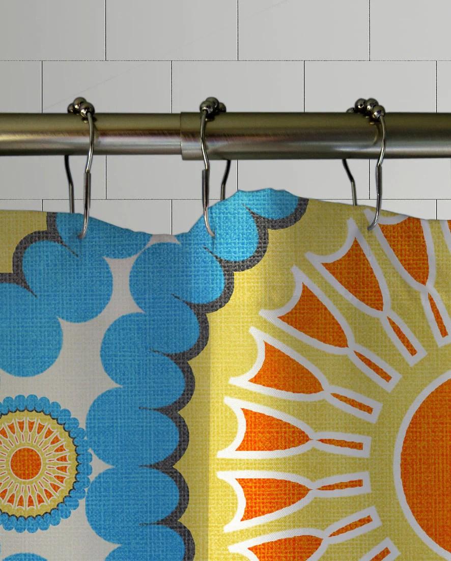retro nectarine shower curtain
