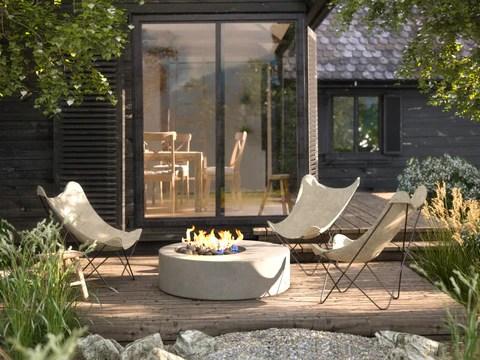patio furniture arrangement around fire