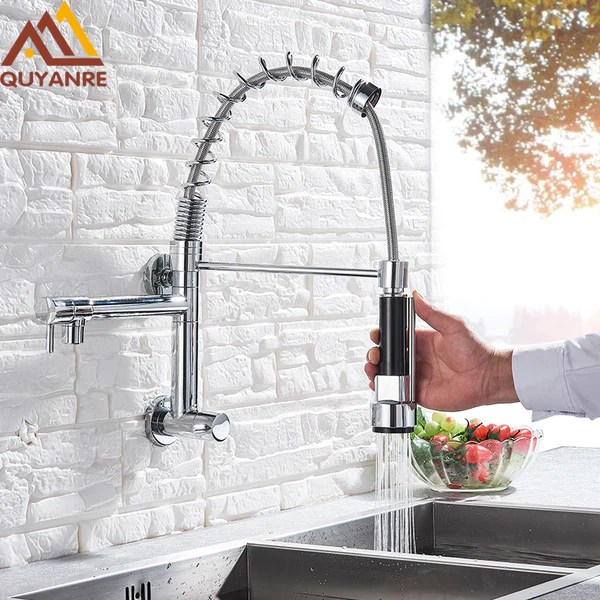 wall mounted spring kitchen faucet pull