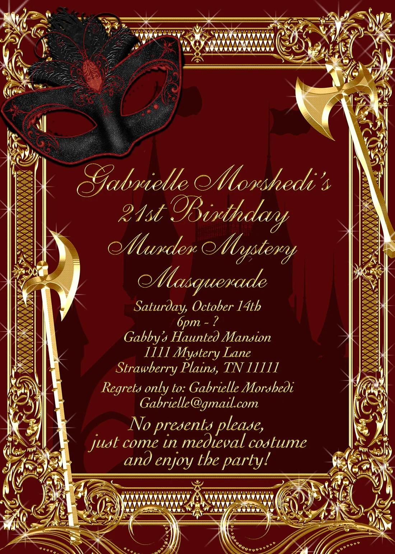murder mystery invitation masquerade party invitation murder masquer