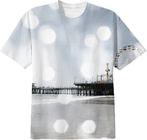Santa Monica Pier Grey Sparkles Photo Edit Shirt from Printallover.me