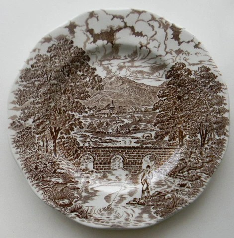 Brown Transferware Salad Plate Angling Fishing Scene Bridge Horses Tudor Manor
