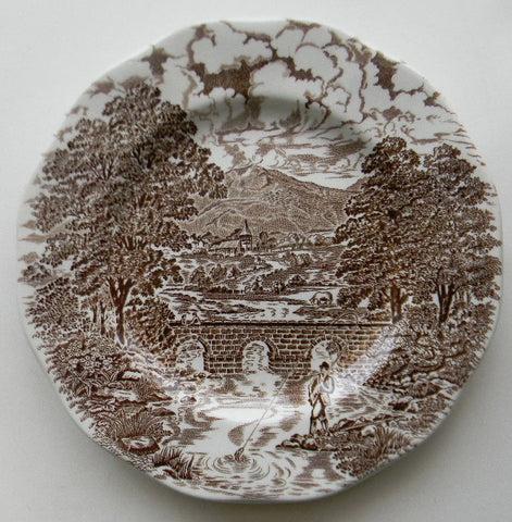 Brown Transferware Salad Plate Angling Fishing Scene Bridge Horses Tudor Manor