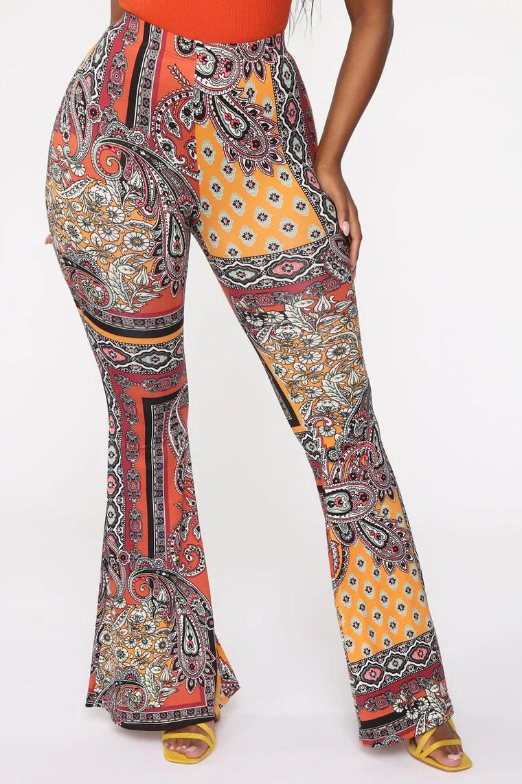 Museum Date Flare Pant - Rust/combo 2