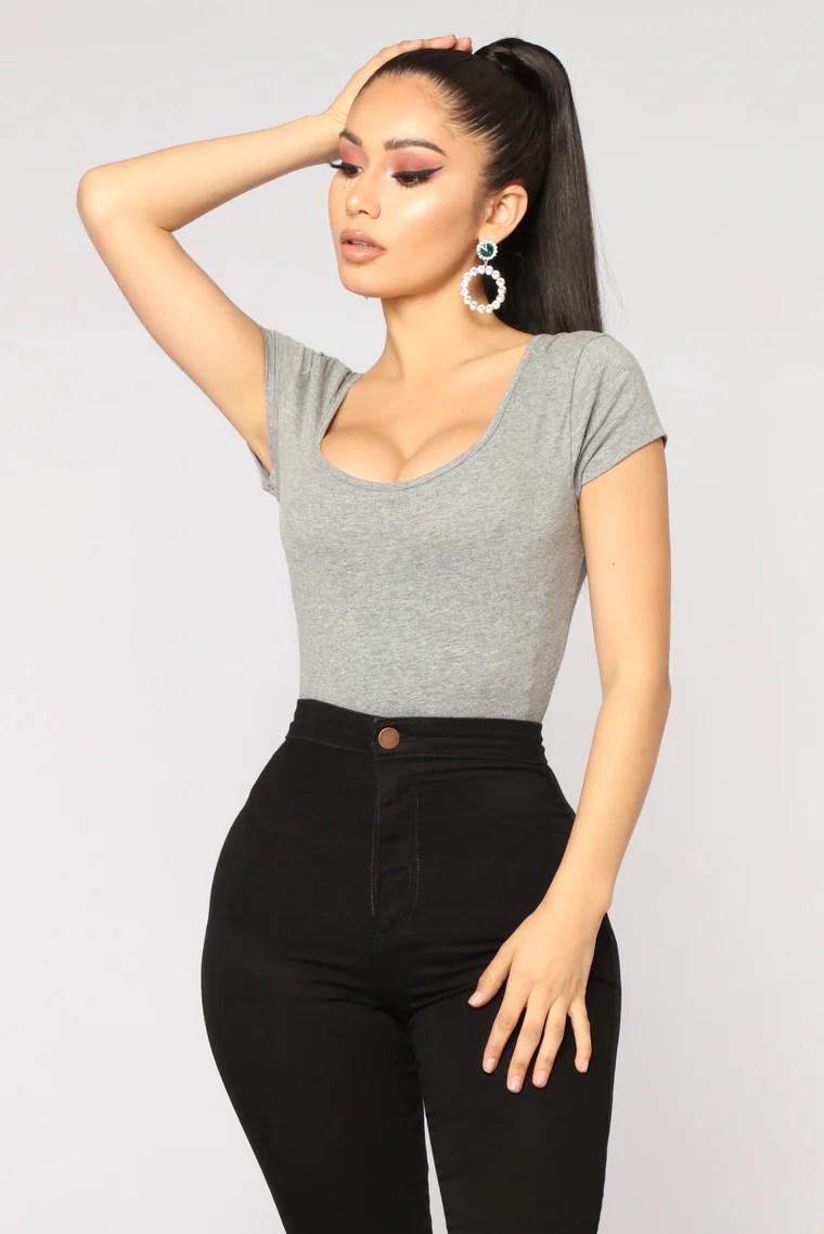 Sabela Basic Bodysuit - Heather Grey 2