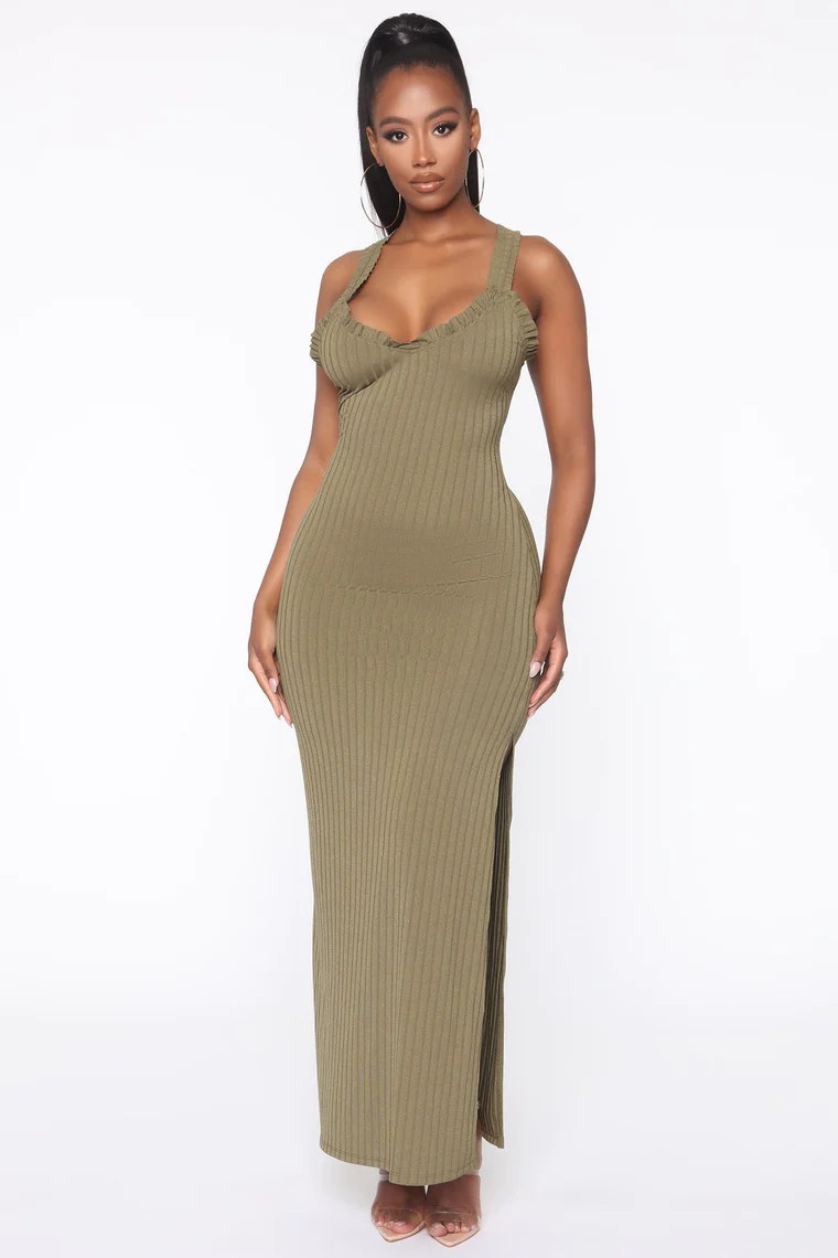 Spontaneous Day Ribbed Maxi Dress - Olive 2