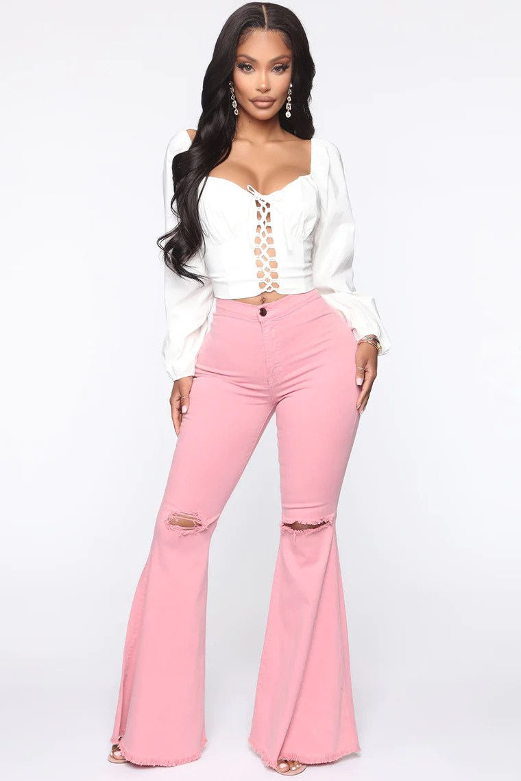 Mystery Solved Extreme Bell Bottom Jeans - Blush 2