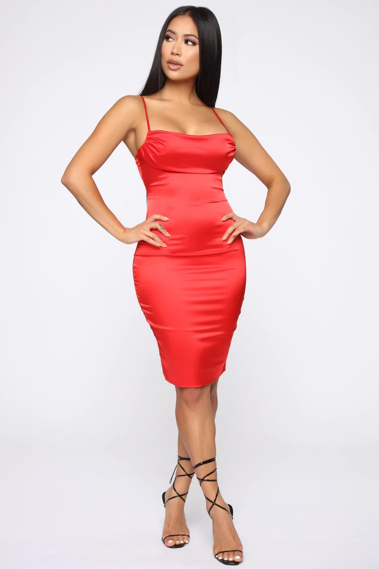 Got What You Want Satin Midi Dress - Red 4