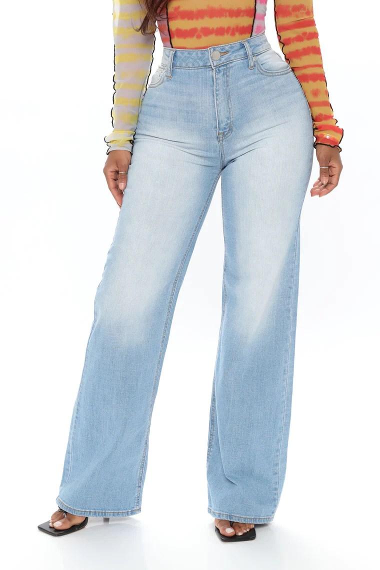Gabrielle Wide Leg Trouser Jeans - Light Blue Wash 12