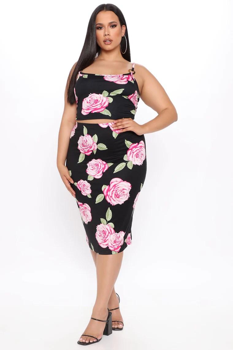 Blossoming Babe Floral Skirt Set - Black/Pink 5