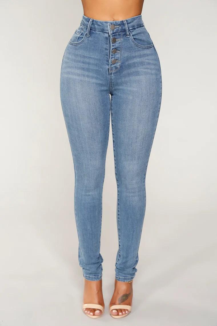 Angela Exposed Button Skinny Jeans - Medium Blue Wash 2