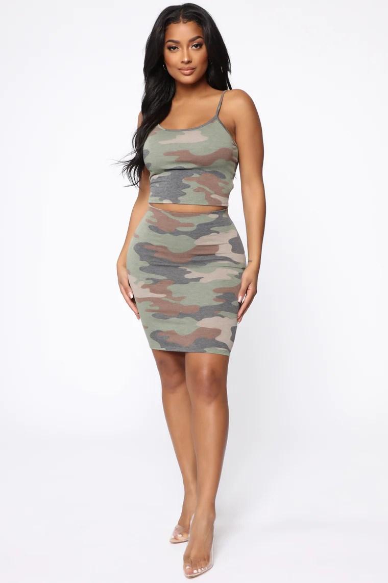 Naomi Camo Skirt Set - Olive/Combo 2