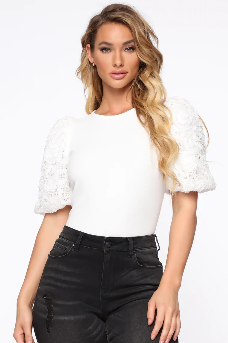 Victorious Puffed Floral Top - Off White 4