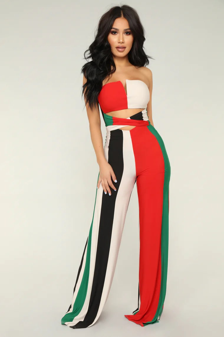 Show Off Striped Jumpsuit - Green/Multi 13