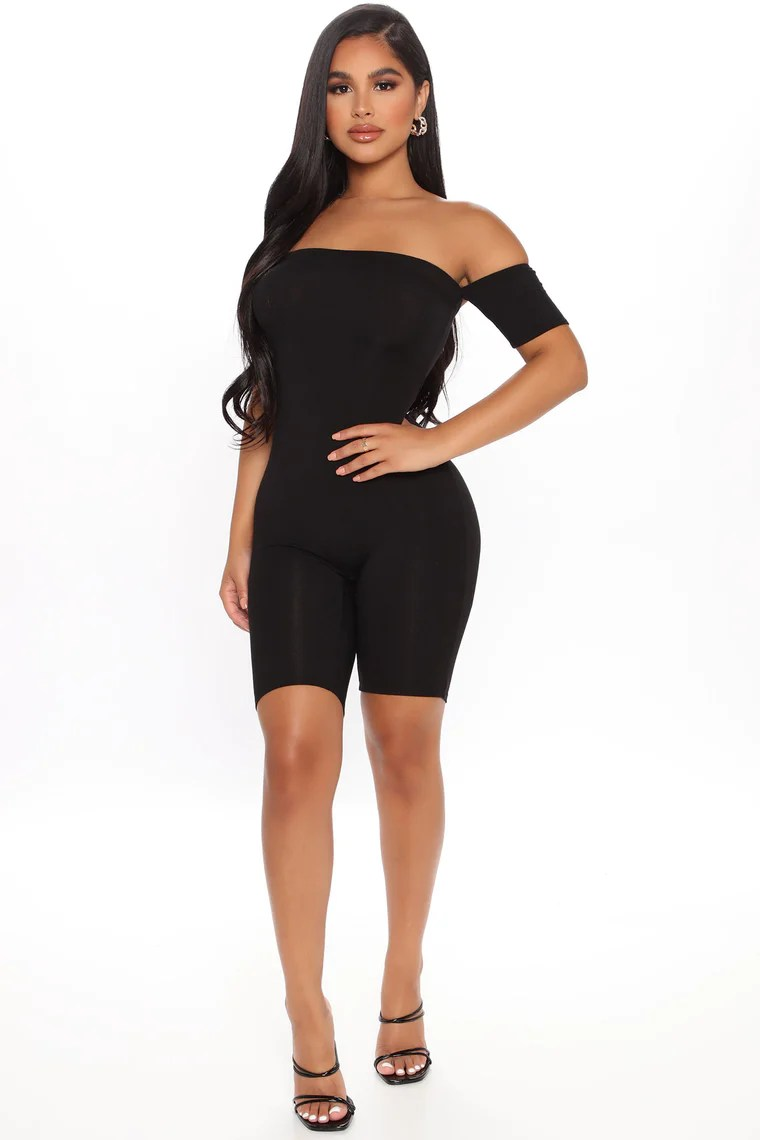 Soothe Short Sleeve Biker Short Romper - Black 11