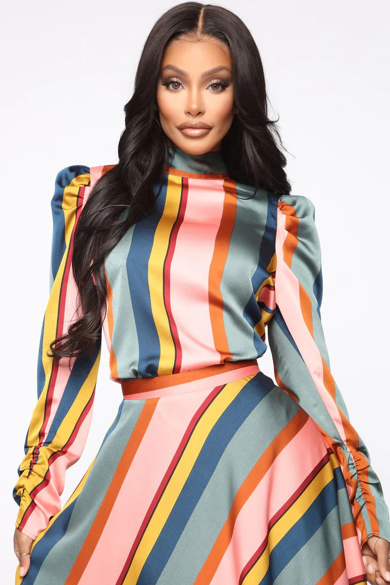 Feel The Groove Striped Satin Top - Pink 2