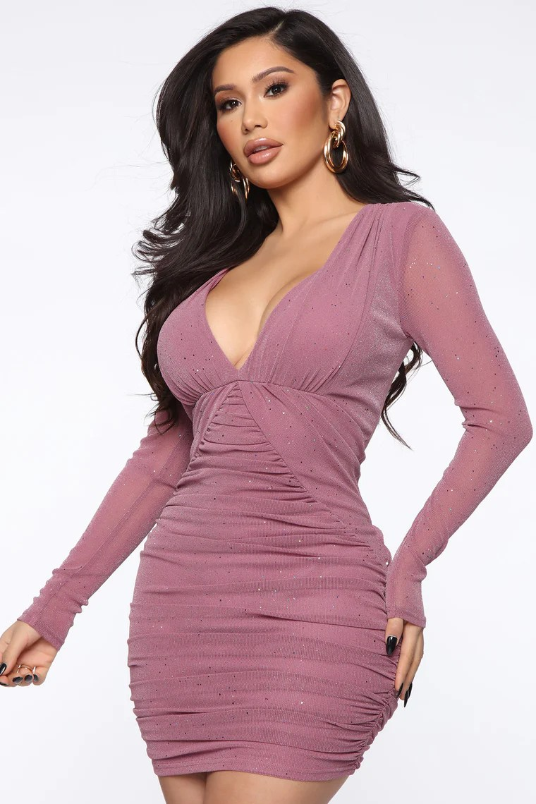 You're My Kind Mesh Mini Dress - Mauve 4