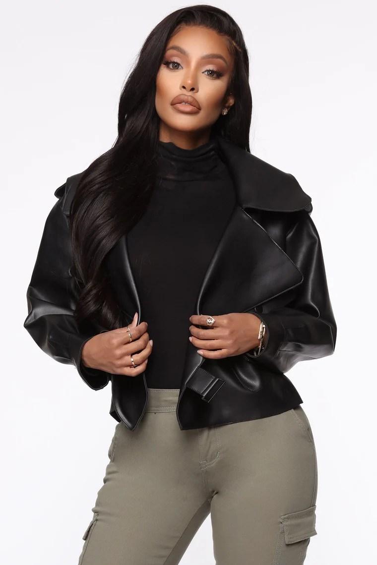 Taking Cover PU Leather Jacket - Black 2